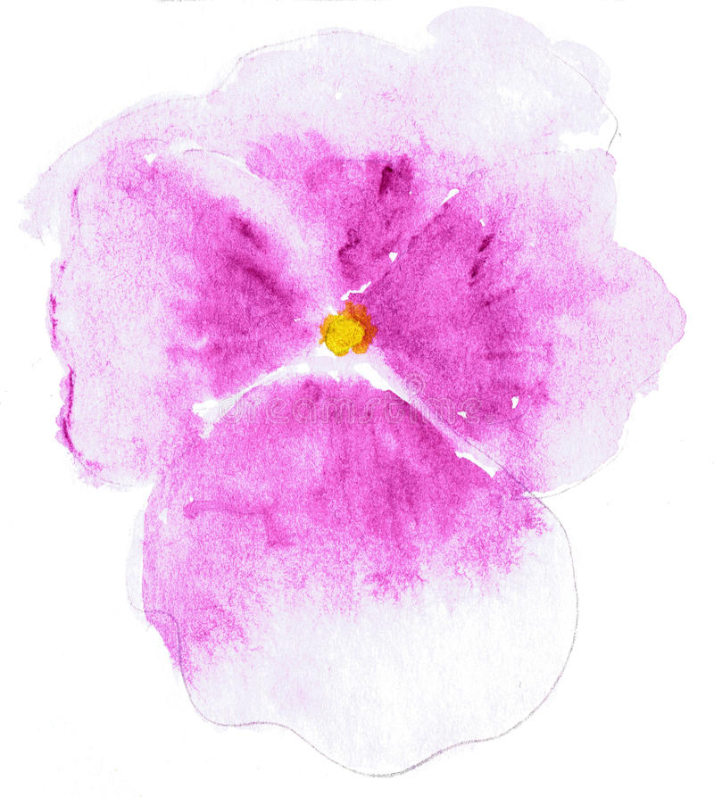风格化蝴蝶花花的水彩例证 花的彩色插图在水彩绘画的 库存例证