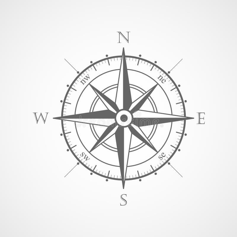 风玫瑰色指南针传染媒介标志 库存例证