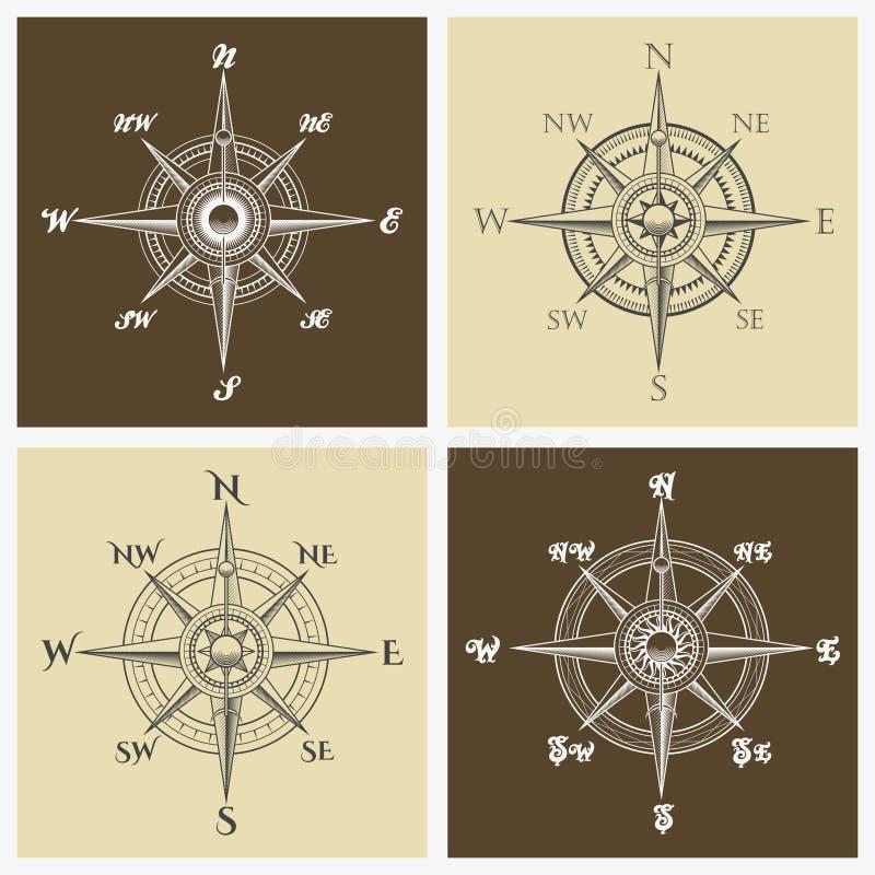 风玫瑰色指南针集合 向量例证