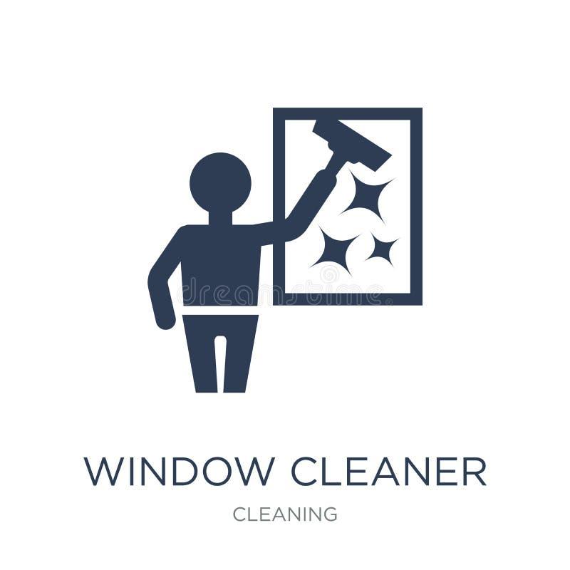 风窗清洁器象 在w的时髦平的传染媒介风窗清洁器象 向量例证