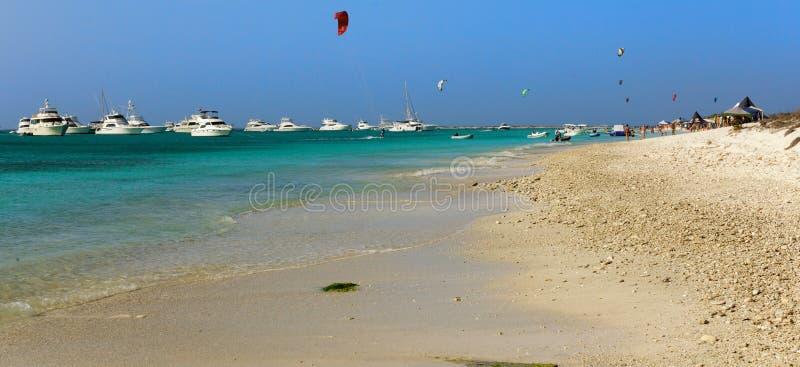 风筝冲浪在加勒比的,与小屋和马达的海滩场面乘快艇 图库摄影