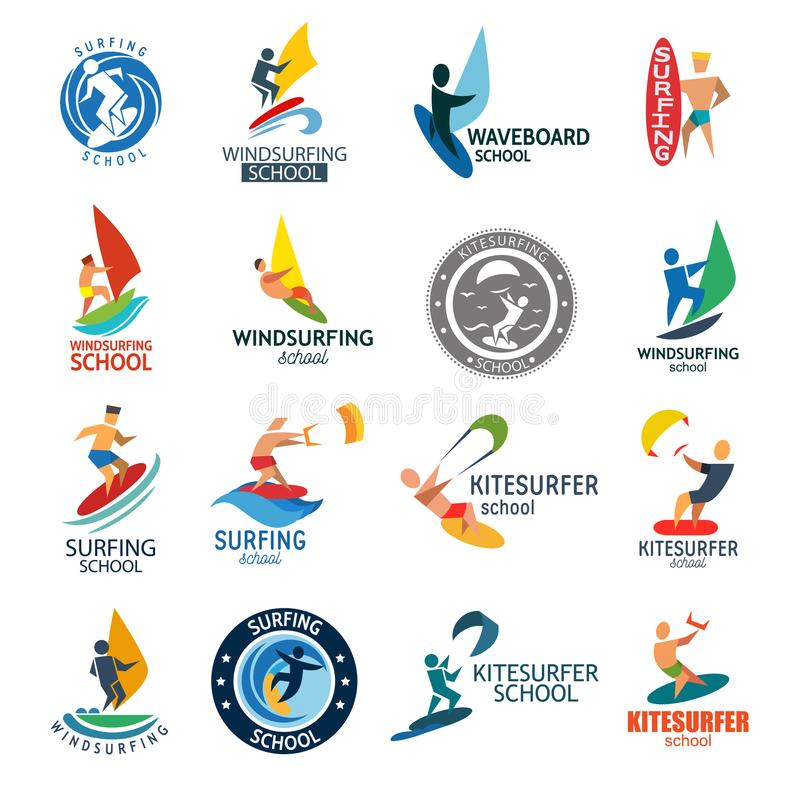 风筝冲浪的windserfing的水上运动俱乐部商标委员会海夏天波浪风徽章传染媒介例证 库存例证