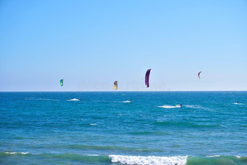 风筝冲浪者加利福尼亚沿海岸 库存照片