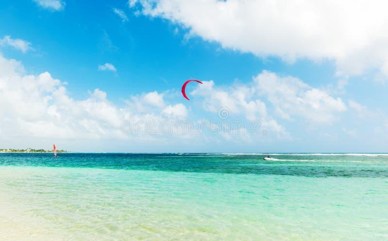 风筝冲浪者在瓜德罗普 库存图片