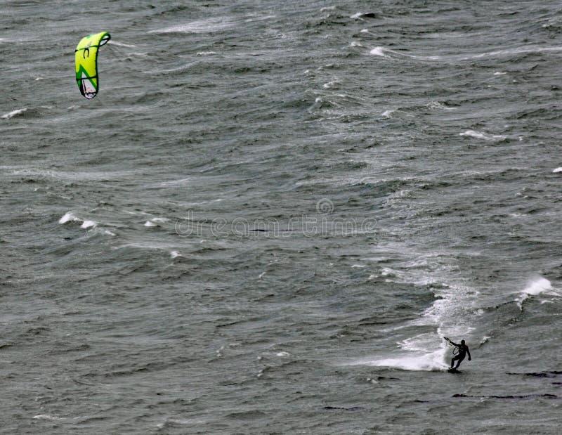 风筝冲浪者横跨Lyall海湾移动在惠灵顿新西兰在一灰色风暴日 图库摄影