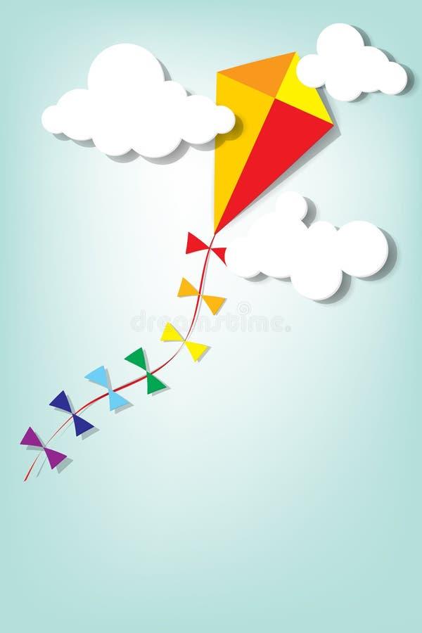风筝在云彩 向量例证