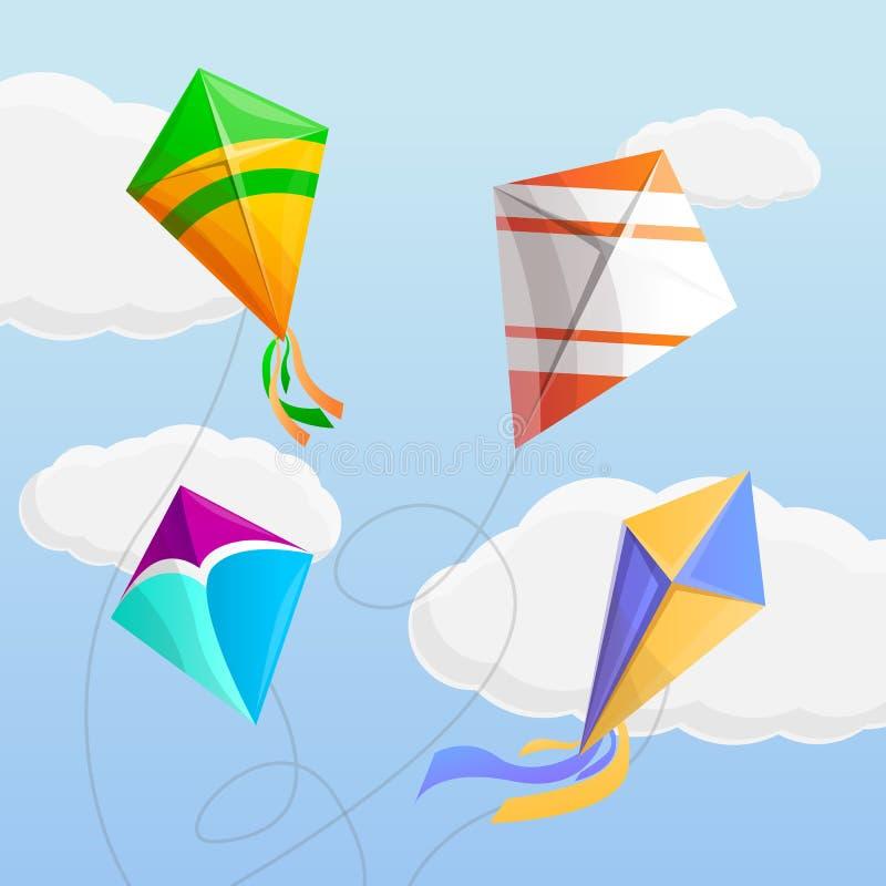 风筝在天空概念背景中,动画片样式 皇族释放例证