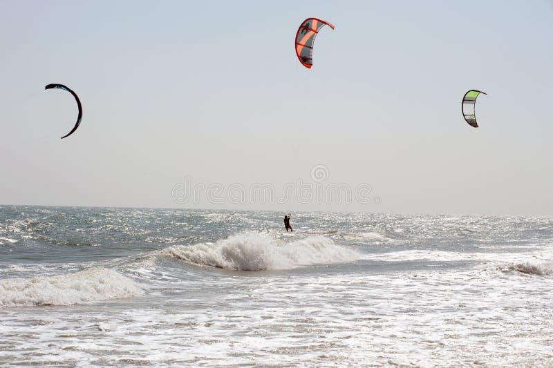 风筝海浪或风筝板,水上运动 库存图片