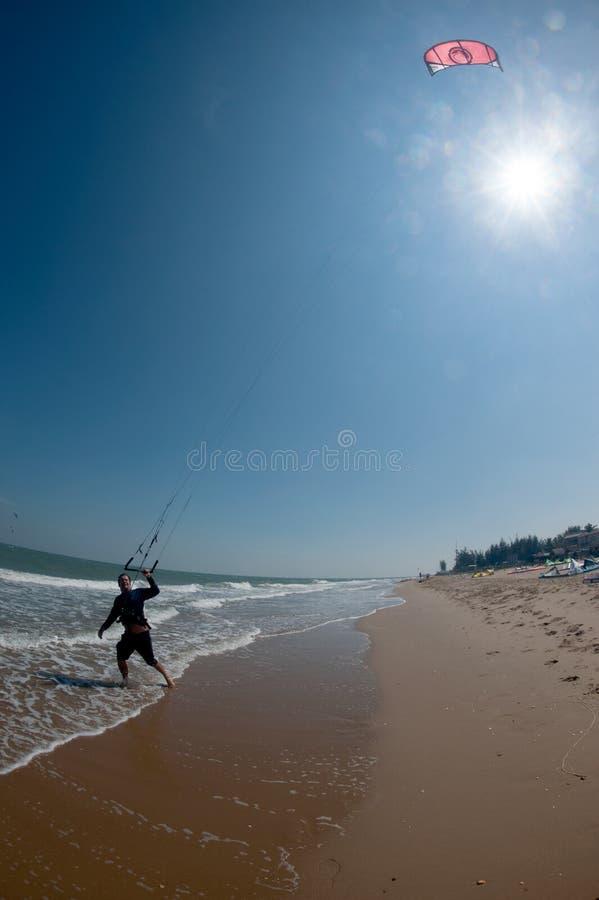 风筝海浪或风筝板,水上运动 免版税库存照片