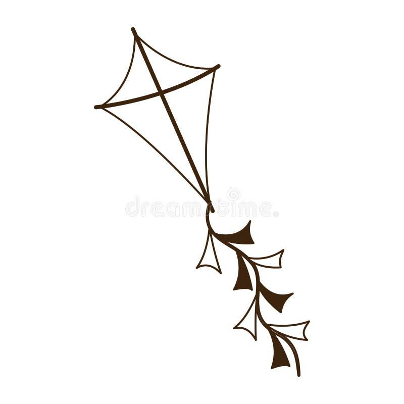 风筝飞行剪影有白色背景 库存例证