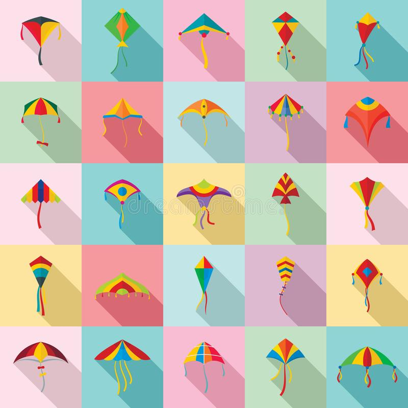 风筝飞行节日海浪象设置了,平的样式 皇族释放例证