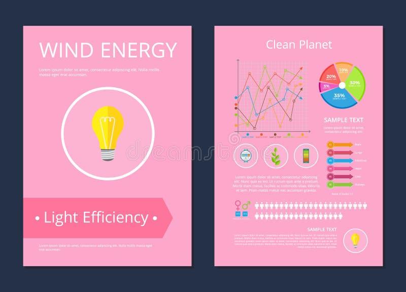 风能干净的行星光效率海报 库存例证