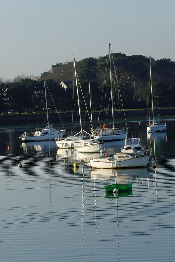 风船和小船停住与树在背景中 免版税库存照片