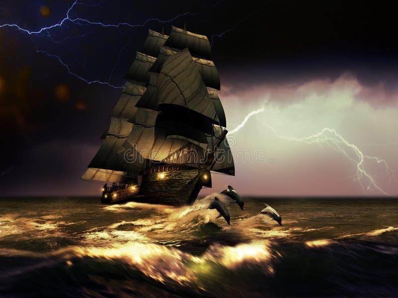 风船和海豚 库存例证