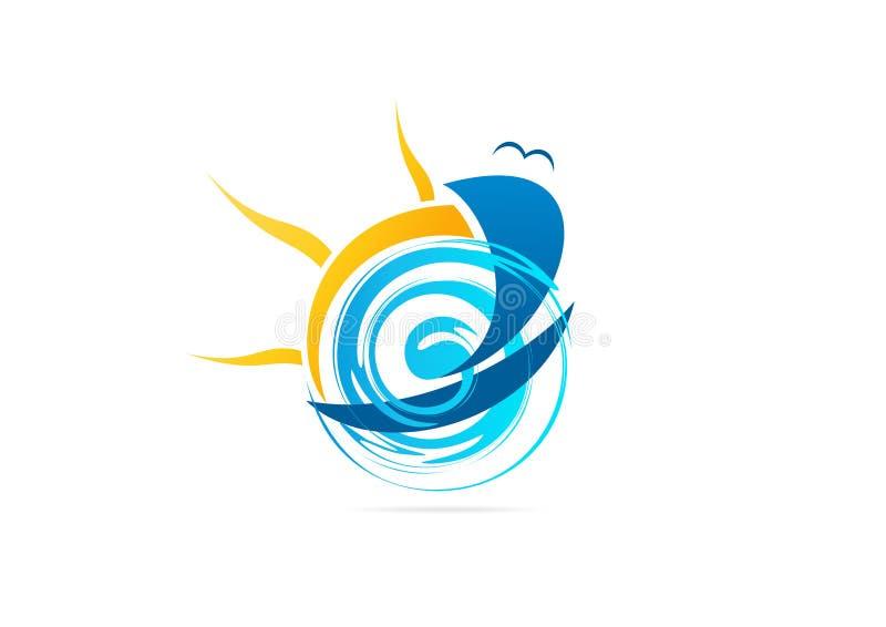 风船商标,游艇冒险标志,海洋体育传染媒介象设计 库存例证
