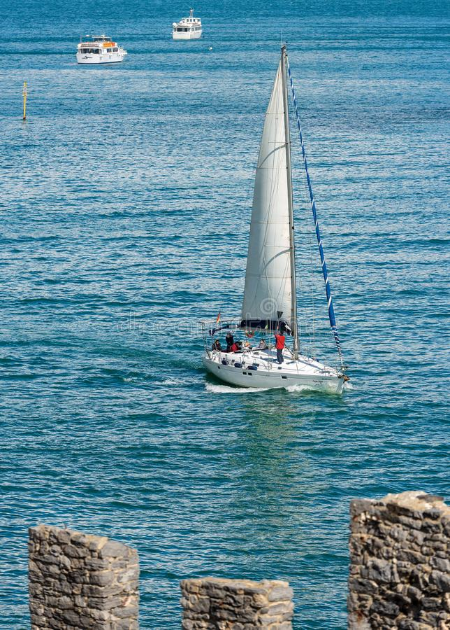 风船在波尔托韦内雷-拉斯佩齐亚利古里亚意大利 免版税库存照片