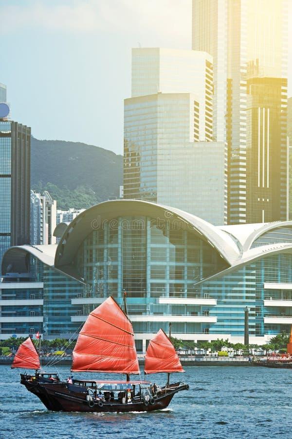 风船航行在香港 免版税库存图片