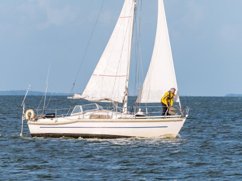 风船航行foredeck的人在IJsselmeer湖, Netherla的 库存图片