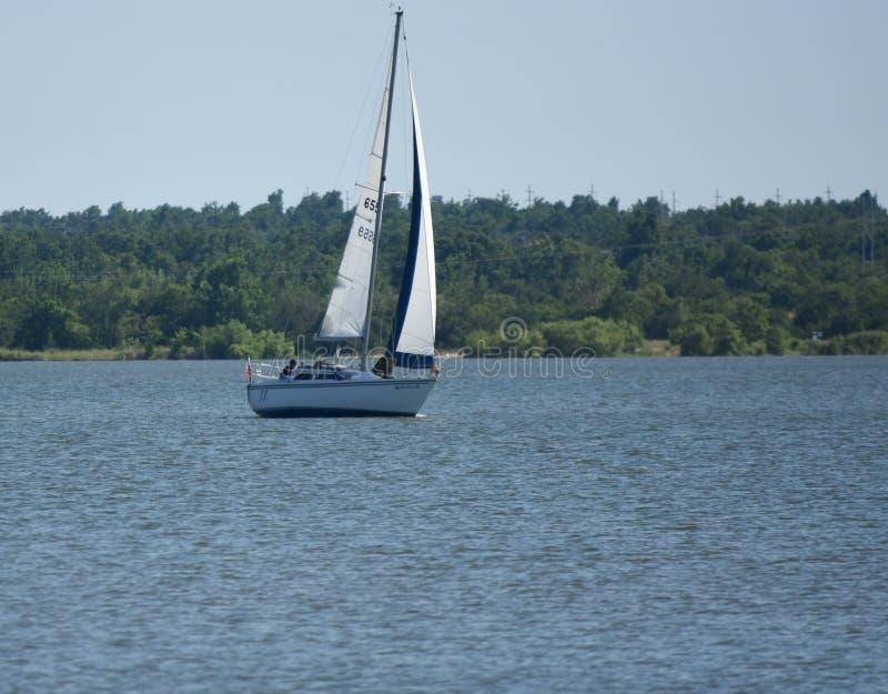 风船,唯一帆柱,午后太阳,赫夫纳湖 库存图片