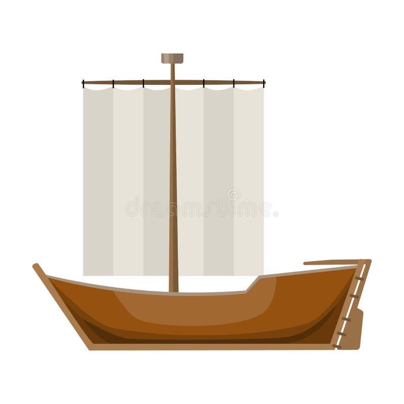 风船 从风的小船风帆 滑冰的水运输 运输在动画片样式传染媒介标志的唯一象 皇族释放例证