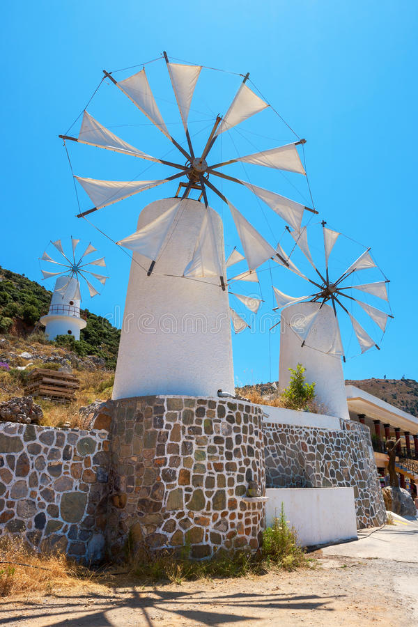 风车。克利特,希腊 图库摄影