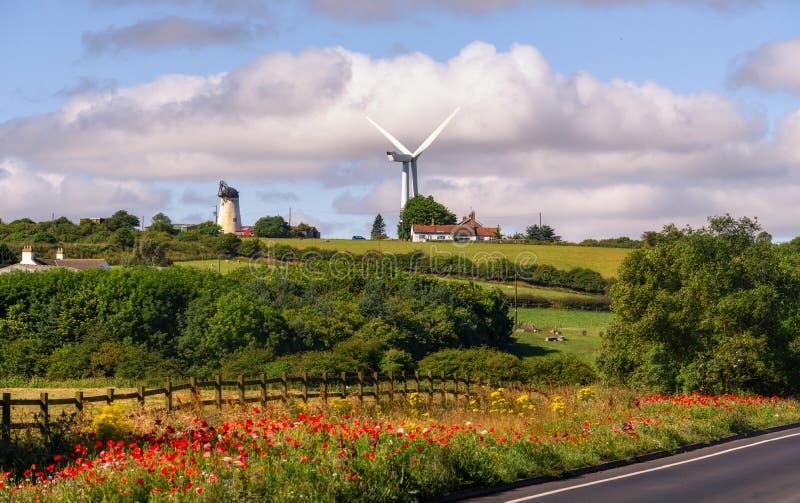 风车东北英格兰英国 免版税库存图片