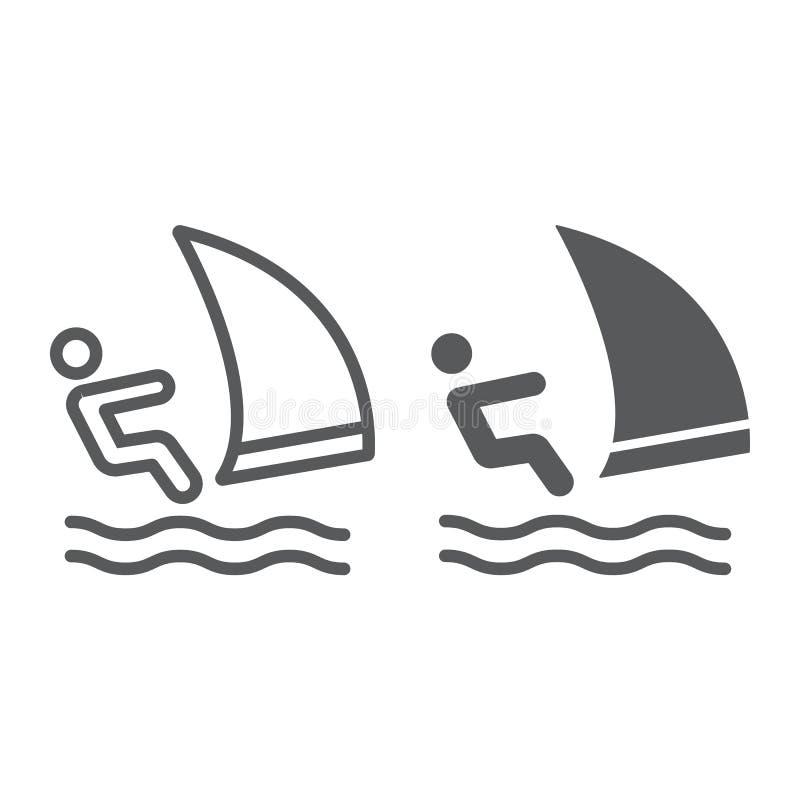 风车之翼海浪线和纵的沟纹象、体育和水,航行运动员标志,向量图形,在a的一个线性样式 向量例证