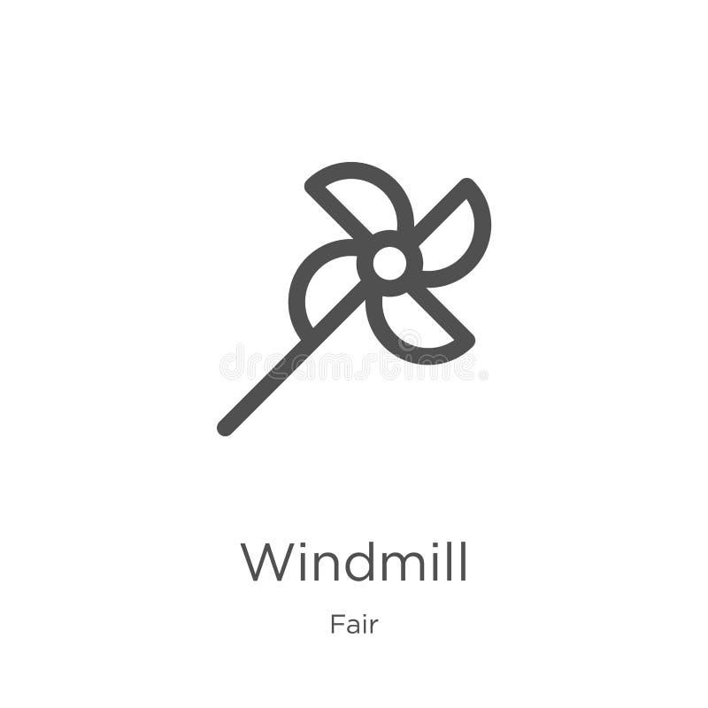风车从公平的收藏的象传染媒介 稀薄的线风车概述象传染媒介例证 概述,稀薄的线风车象 库存例证