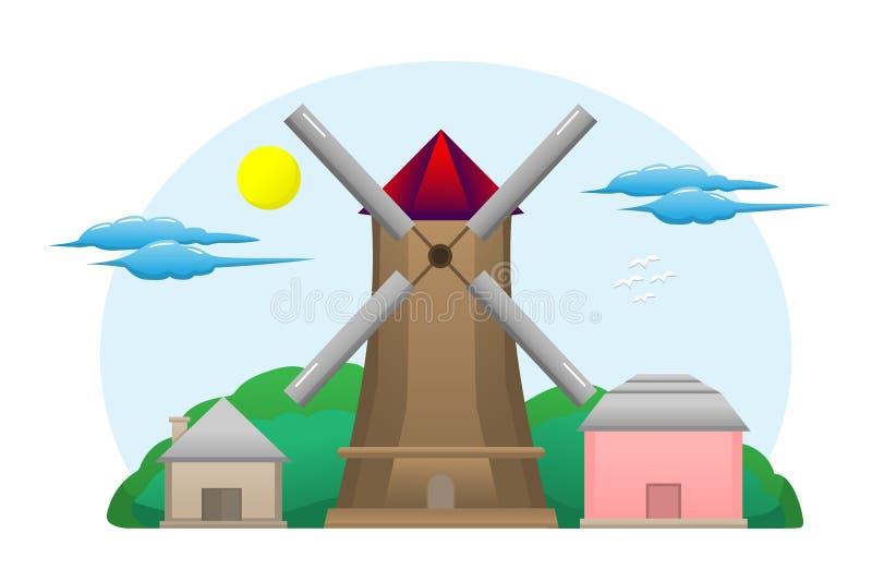 风车农场,有一个谷仓、一个房子仓库和一天空蔚蓝与云彩 平的设计样式传染媒介例证 向量例证