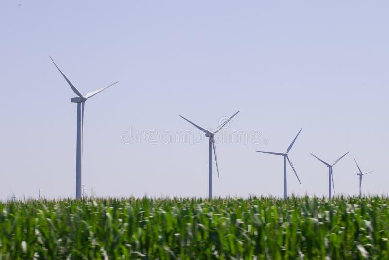 风车农村风景的能源厂 电力生产的风轮机农场 电力生产的风车 库存图片