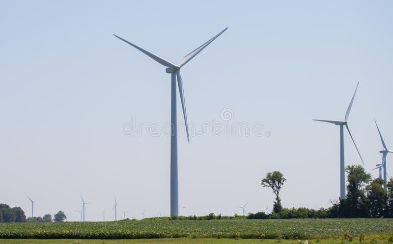 风车农村风景的能源厂 电力生产的风轮机农场 电力生产的风车 图库摄影