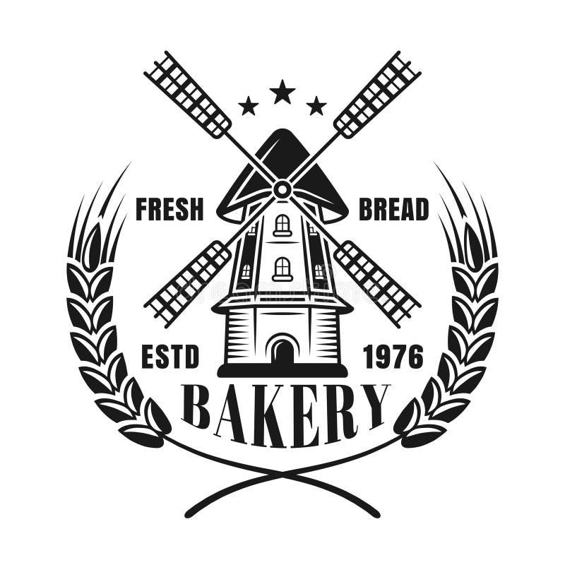 风车和麦子传染媒介面包店的黑色象征 皇族释放例证