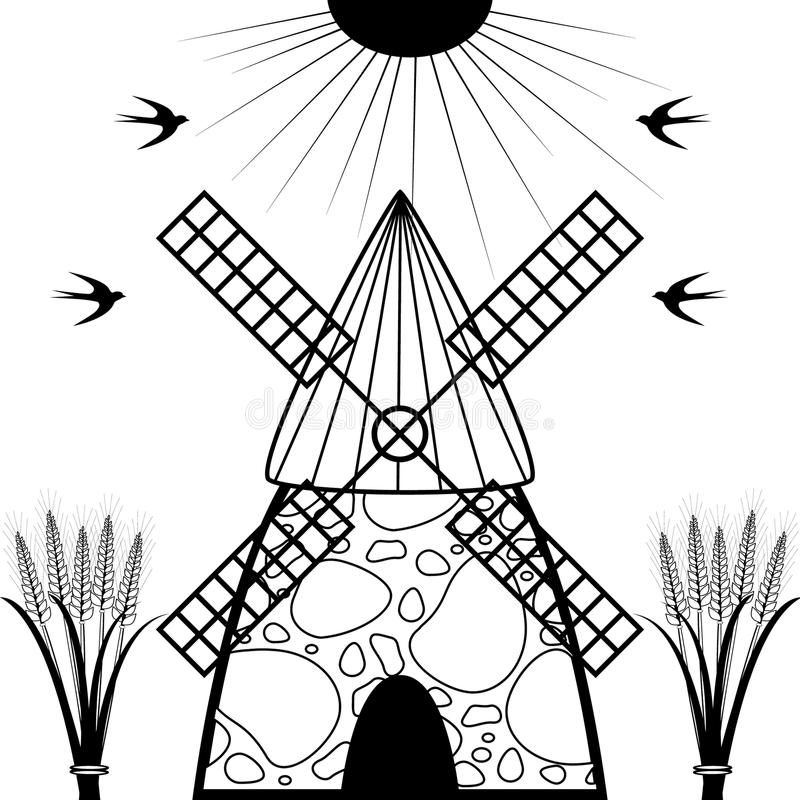 风车和麦子耳朵 皇族释放例证