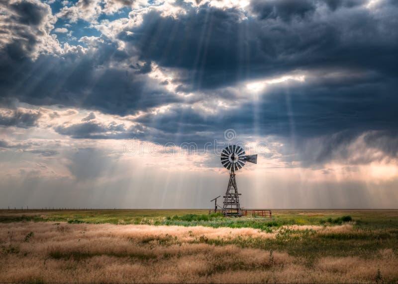 风车在一个开放草甸 免版税库存图片