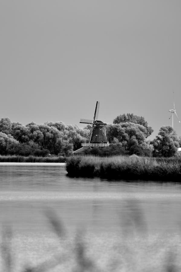 风车在安娜Paulowna在荷兰 免版税库存图片