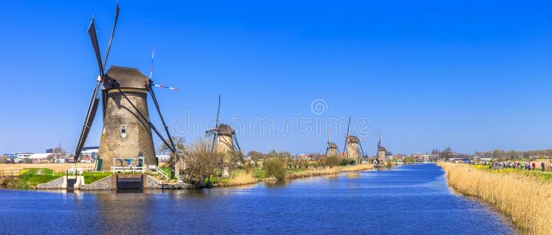 风车在小孩堤防,荷兰 免版税库存图片