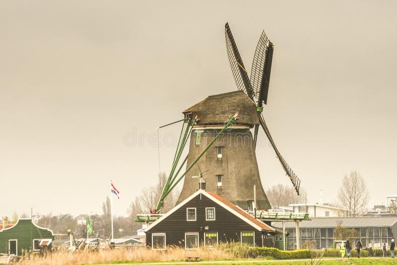 风车在荷兰,附近的阿姆斯特丹 免版税库存照片