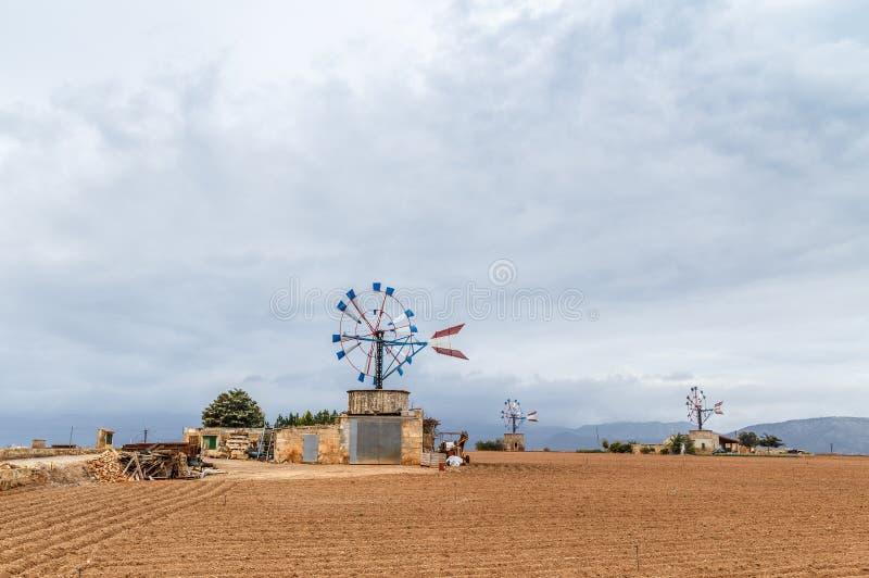 风车在马略卡 库存照片