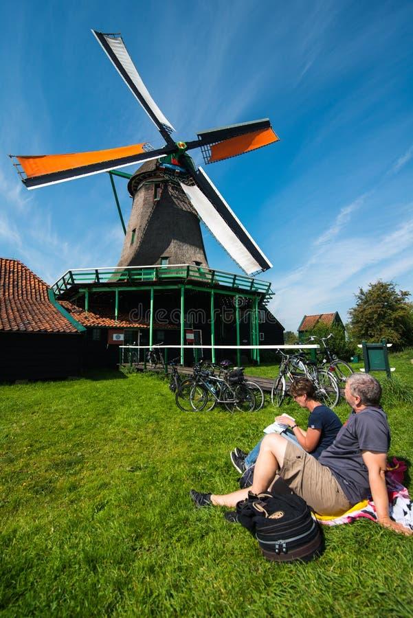 风车在Zaanse Schans,荷兰 库存图片