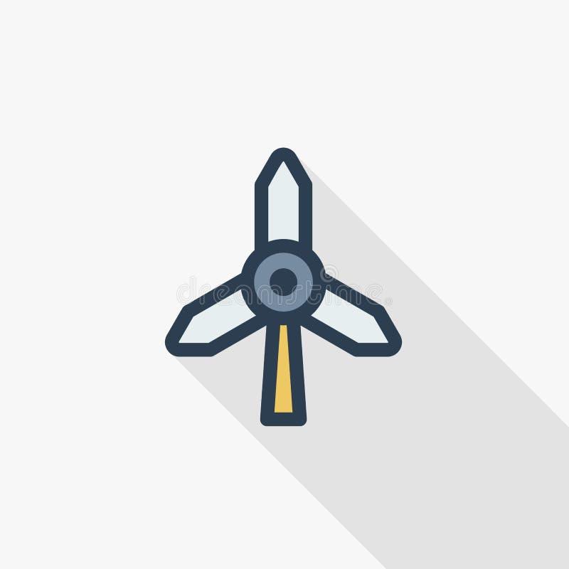 风车能量稀薄的线平的象 线性传染媒介标志五颜六色的长的阴影设计 向量例证