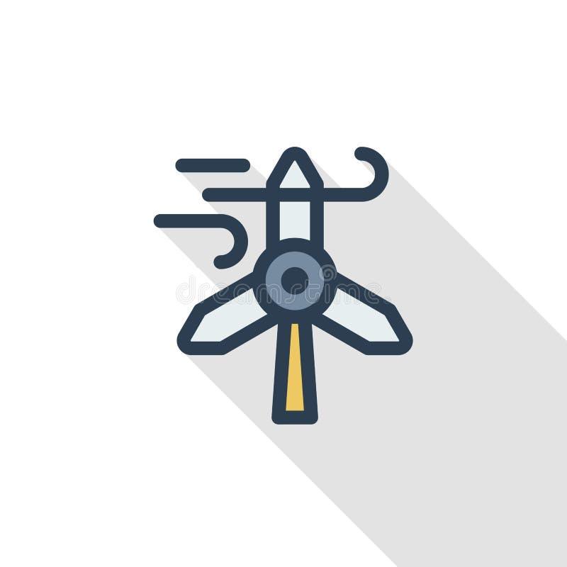 风车能量稀薄的线平的颜色象 线性传染媒介标志 五颜六色的长的阴影设计 向量例证