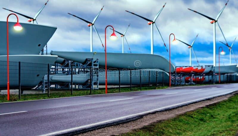 风车,可选择能源 电力发动的风车 库存照片