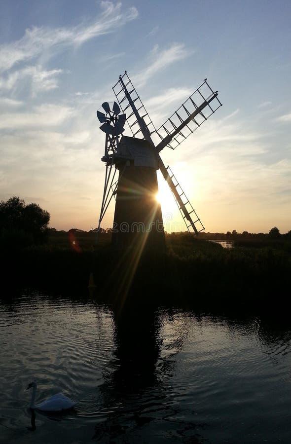 风车,诺福克Broads,英国 库存照片