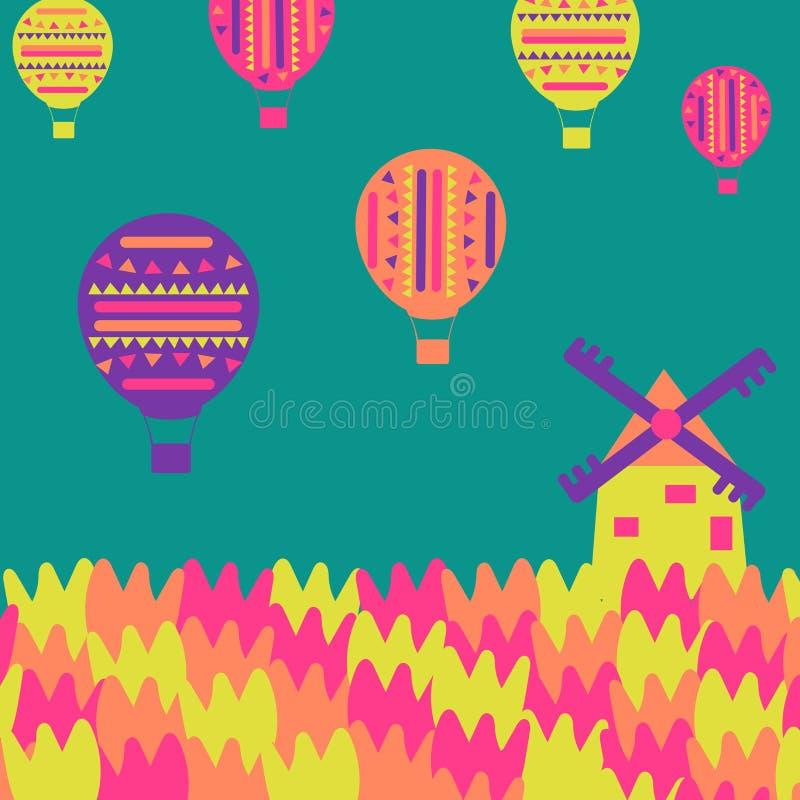 风车,郁金香,在简单的背景的气球 皇族释放例证