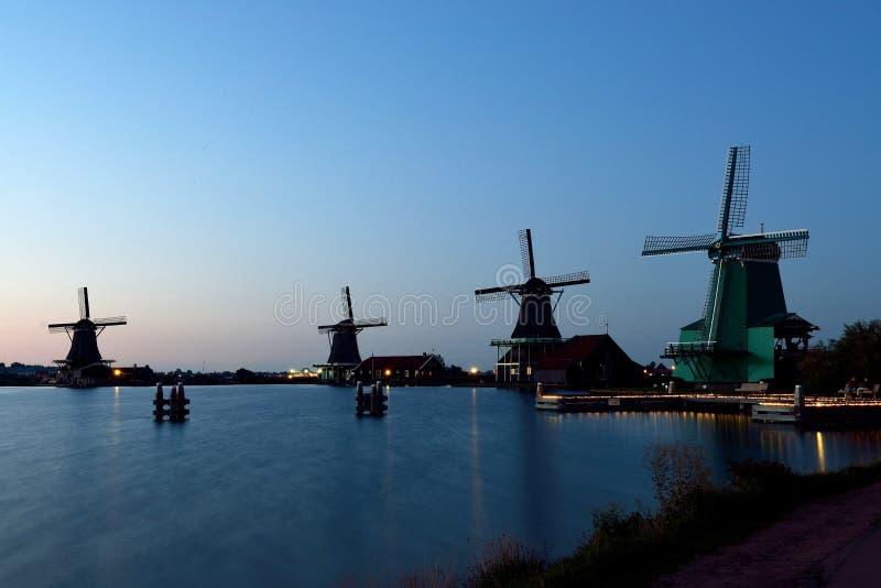 风车Zaanse Schans,荷兰 免版税库存图片