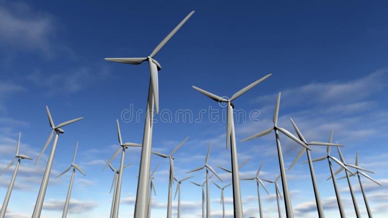 风轮机公园或windfarm 向量例证