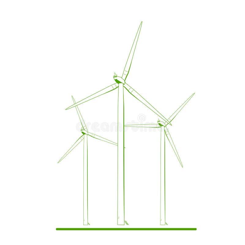 风轮机可再造能源概念绿色白色 向量例证
