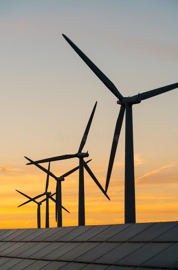 风轮机和太阳电池板能量generaters在风力场 库存照片