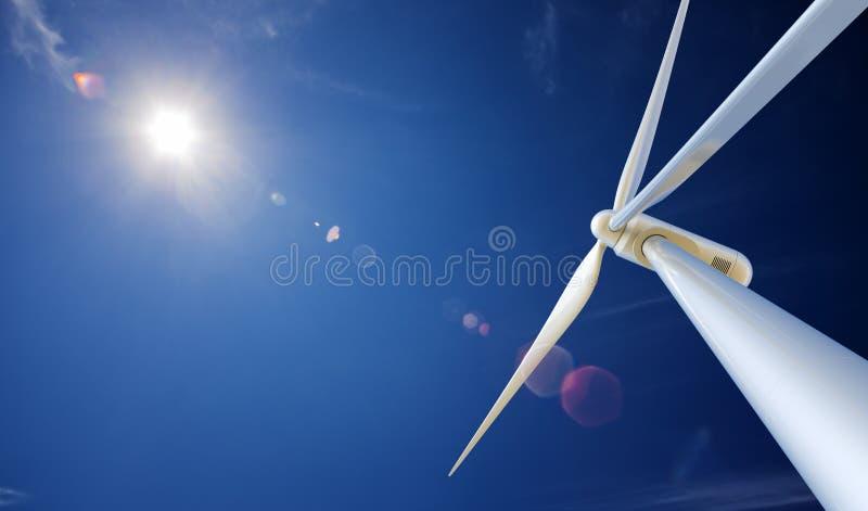 风轮机和星期日从下面 库存例证