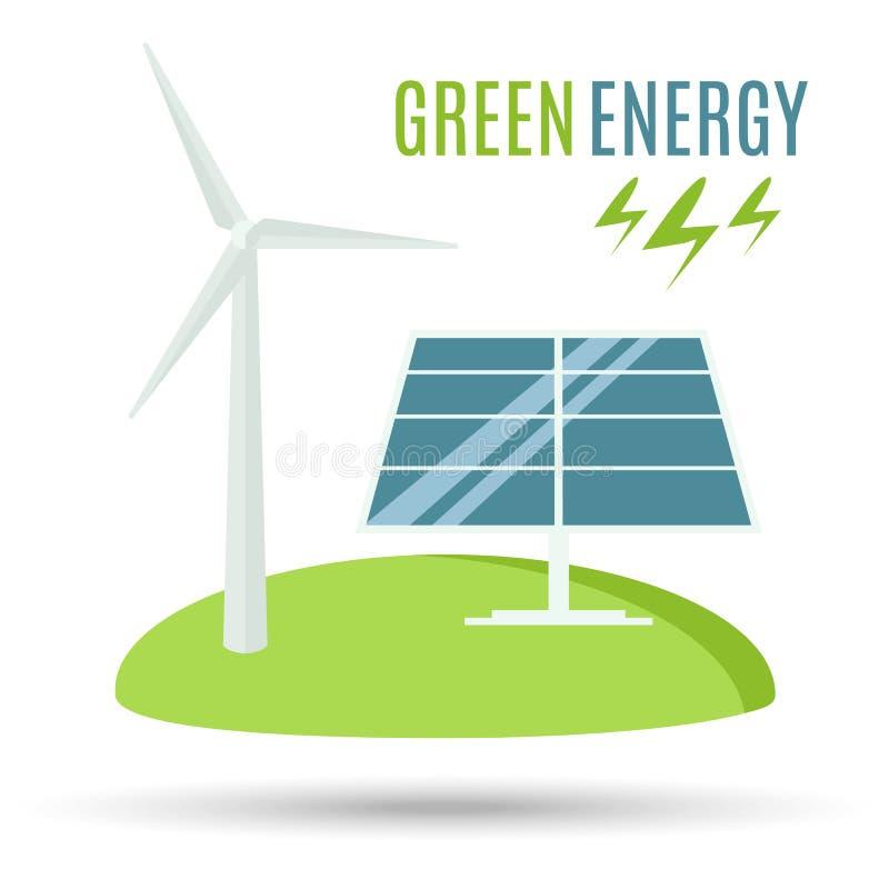 风轮机和蓝色太阳电池板 现代供选择的Eco绿色能量 皇族释放例证